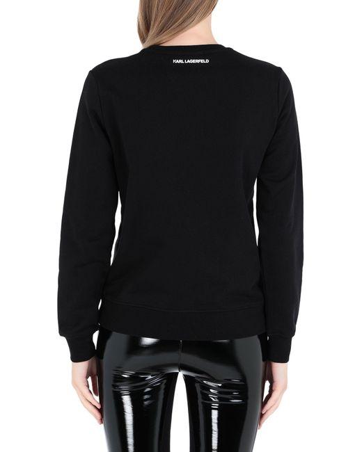 Sweat-Shirt En Coton Embelli Karl Lagerfeld en coloris Black