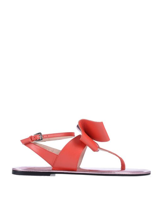 Pollini Red Toe Post Sandal