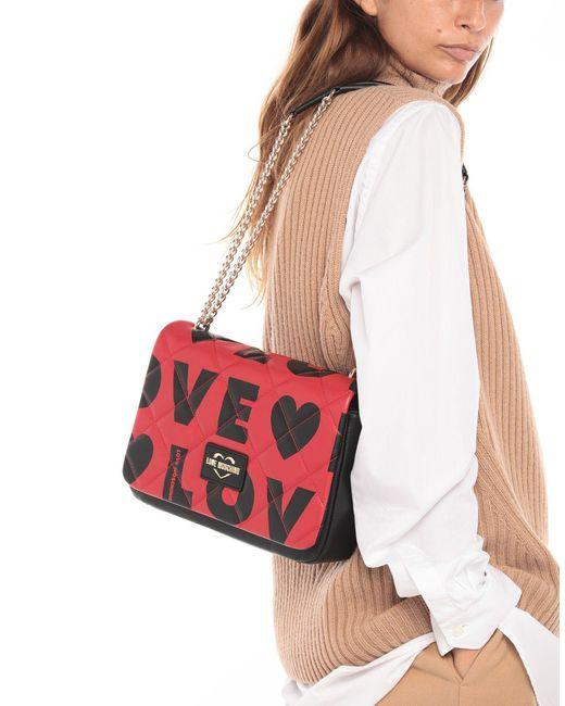 Borsa a spalla di Love Moschino in Red