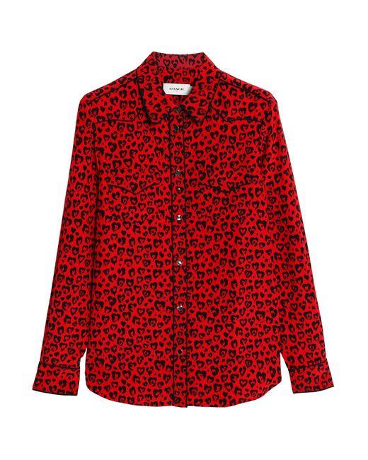 COACH Camisa de mujer de color rojo