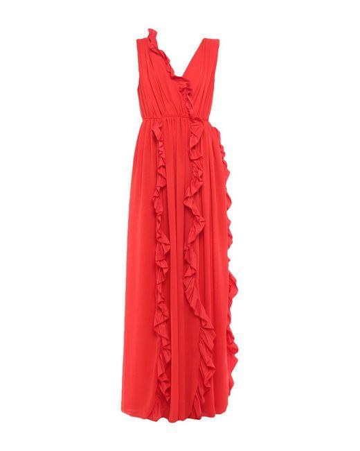MSGM Vestido largo de mujer de color rojo
