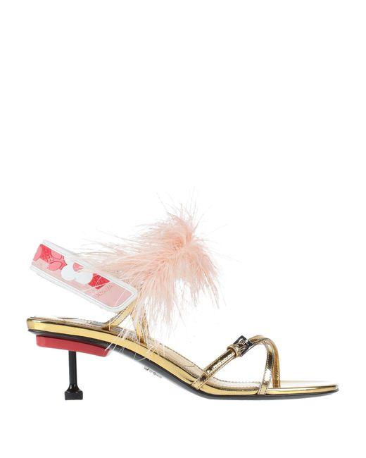 Prada Sandalias de mujer de color metálico