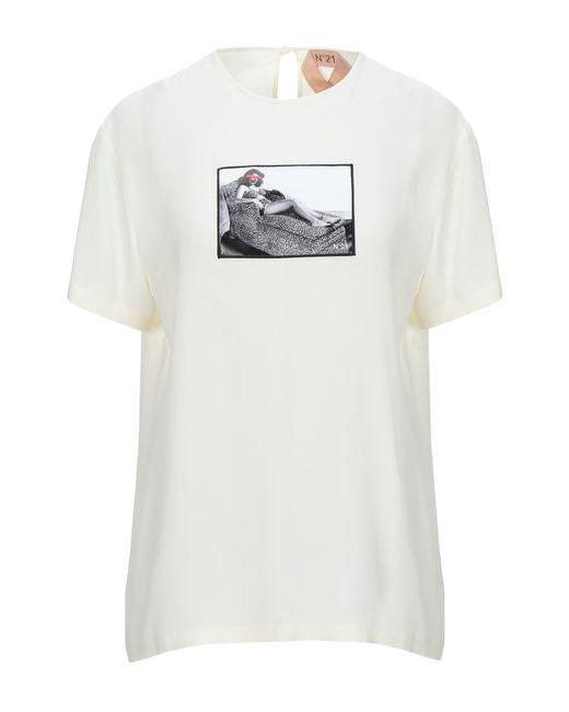 N°21 Blusa de mujer de color blanco N1Y0O