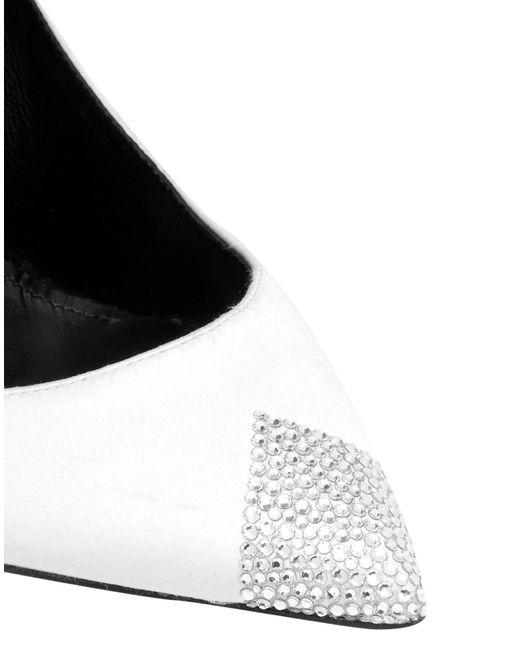 Saint Laurent White Swarovski Crystal-embellished Satin Pumps