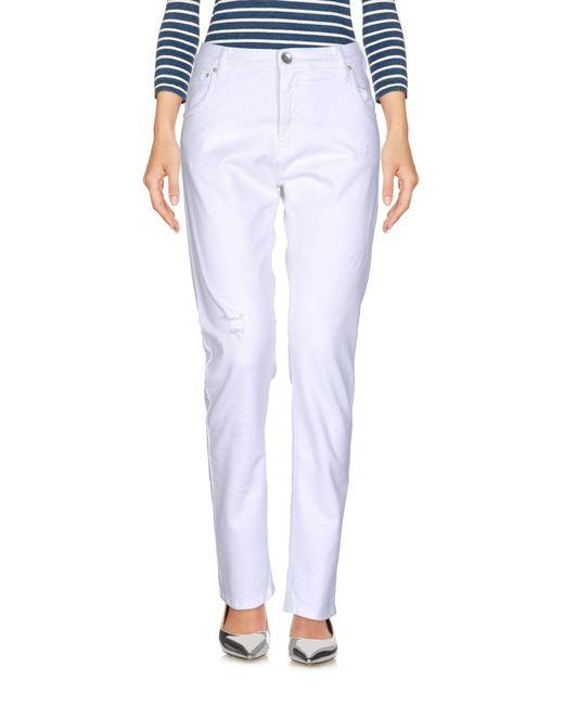 Novemb3r - White Denim Trousers - Lyst