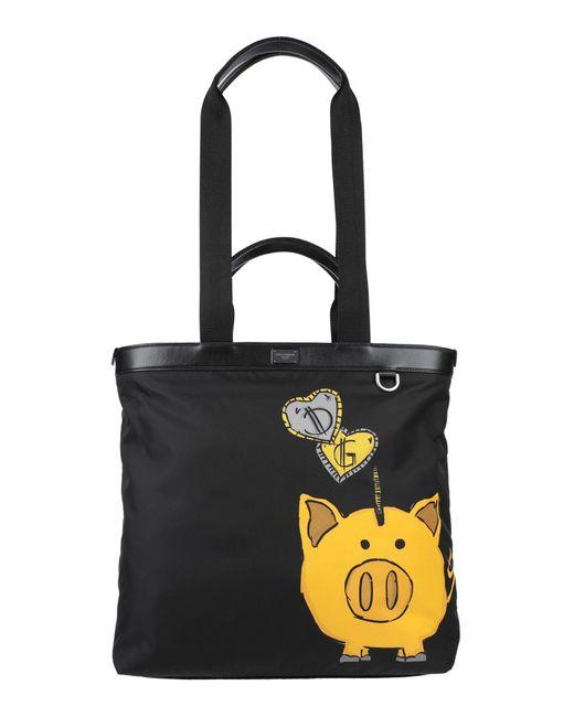 Dolce & Gabbana Black Pig Print Multi-strap Tote Bag for men