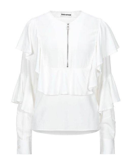 Each x Other Blusa da donna di colore bianco