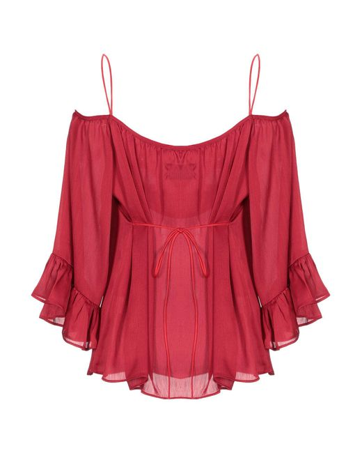 ..,merci Blusa de mujer de color rojo EEMRz
