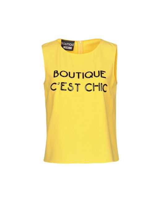 Boutique Moschino - Yellow Tops - Lyst