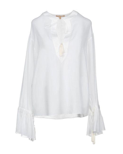Michael Kors Blusa de mujer de color blanco EzMvx