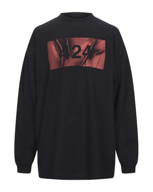 424 T-shirt da uomo di colore nero