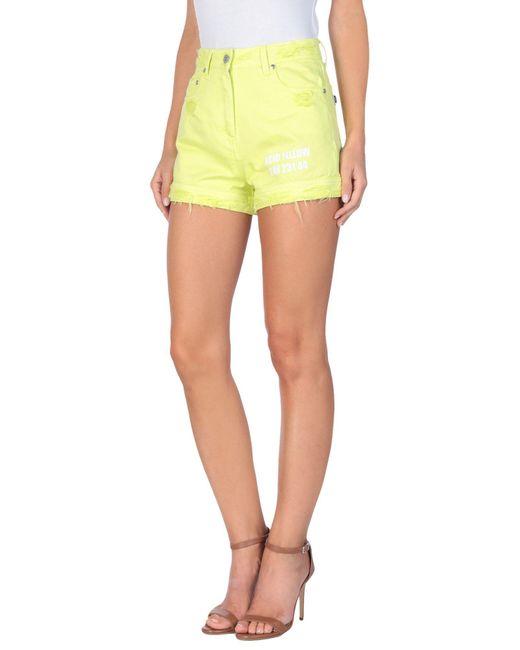 MSGM Green Denim Shorts