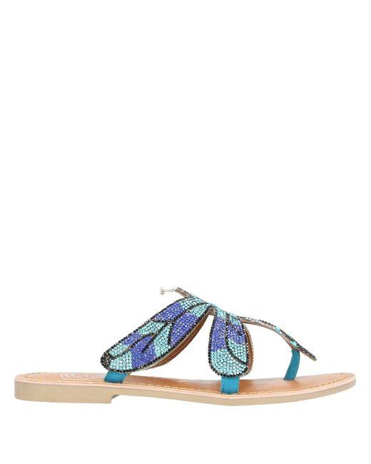 CafeNoir Blue Toe Strap Sandal