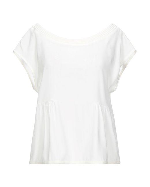 Manila Grace Blusa da donna di colore bianco