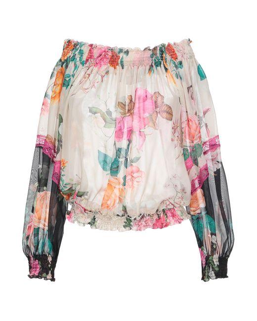 Clips Blusa de mujer de color blanco GbgD9