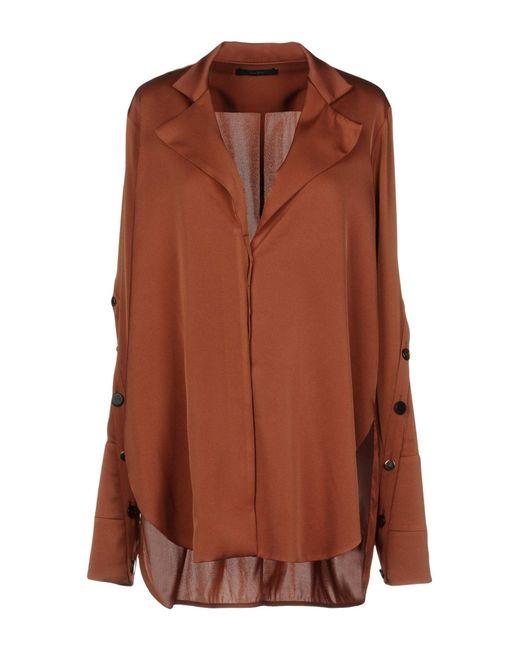 Ellery Camisa de mujer de color marrón