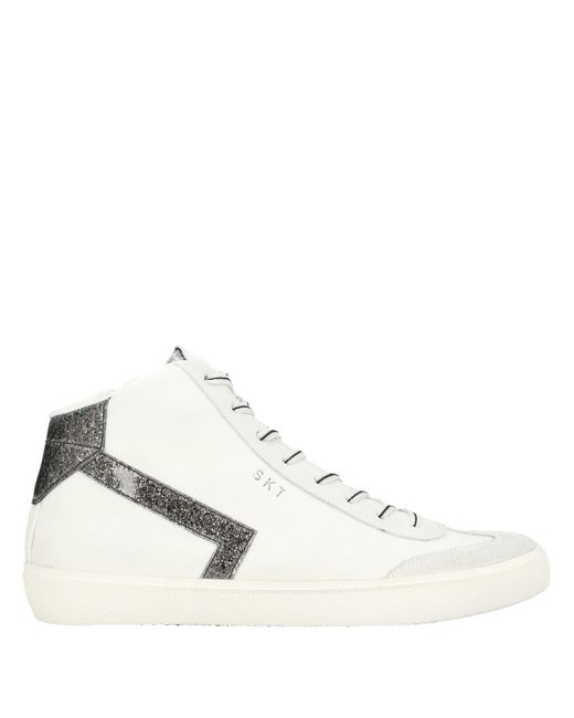 Leather Crown Sneakers abotinadas de mujer de color blanco