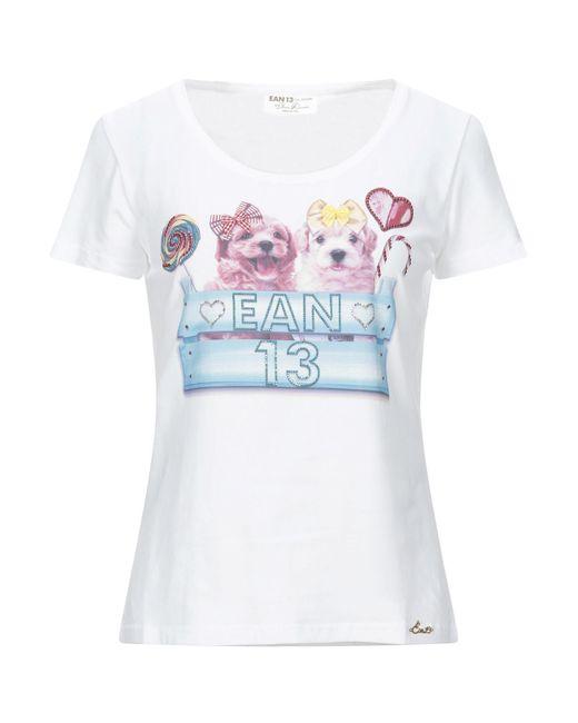Ean 13 T-shirt da donna di colore bianco