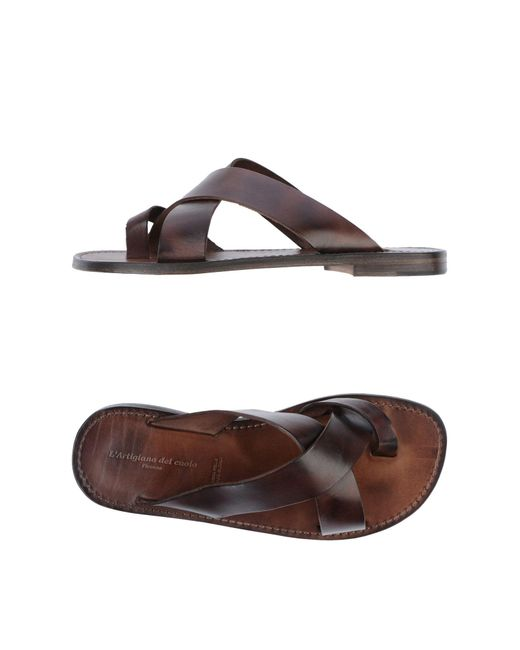 L'artigiano Del Cuoio Brown Toe Strap Sandal for men