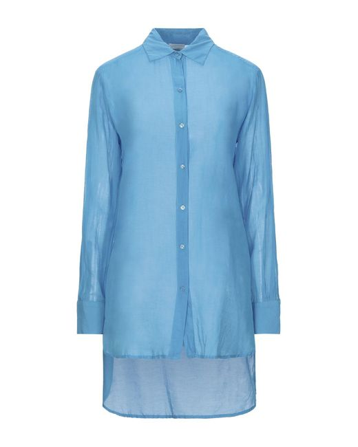 ..,merci Camisa de mujer de color azul Kg4f6