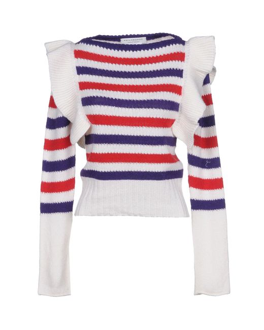 Philosophy Di Lorenzo Serafini - White Ruffled Striped Pointelle-knit Cashmere Sweater - Lyst