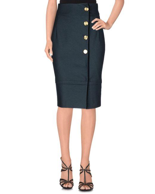 Class Roberto Cavalli Blue Knee Length Skirt