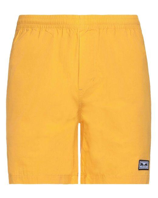 Obey Yellow Bermuda Shorts for men