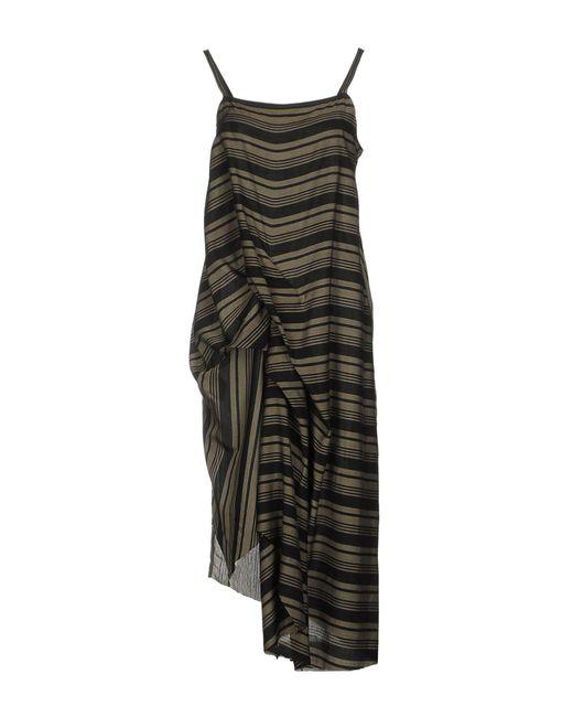 Isabel Benenato - Green 3/4 Length Dress - Lyst