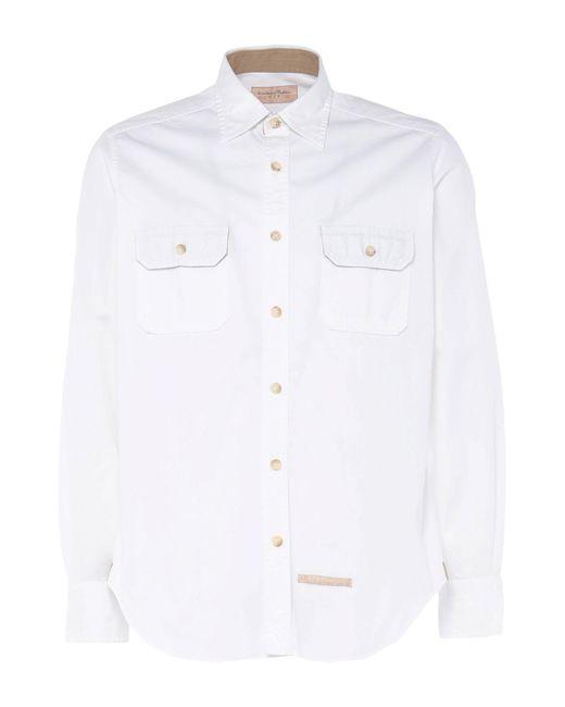 Tintoria Mattei 954 Camicia da uomo di colore bianco