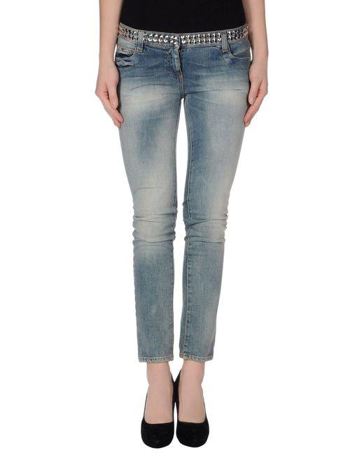 Balmain - Blue Straight-Leg Cotton Denim Trousers - Lyst