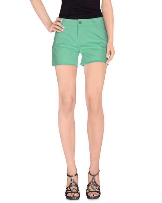 ELEVEN PARIS - Green Denim Shorts - Lyst