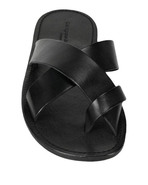 L'artigiano Del Cuoio Black Toe Strap Sandal for men