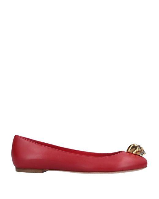 Alexander McQueen - Red Skull Detail Ballerina Flats - Lyst