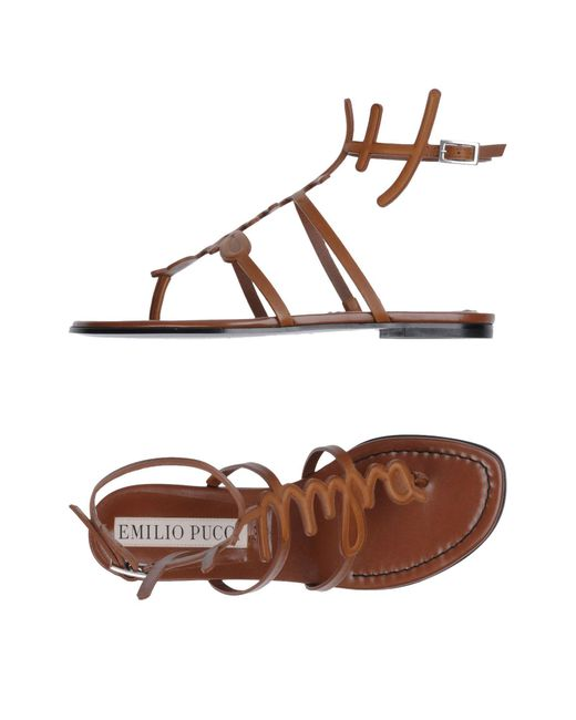 Emilio Pucci - Brown Toe Strap Sandal - Lyst