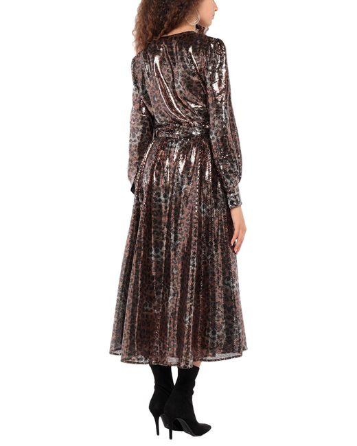 Vestido midi con lentejuelas MSGM de color Brown