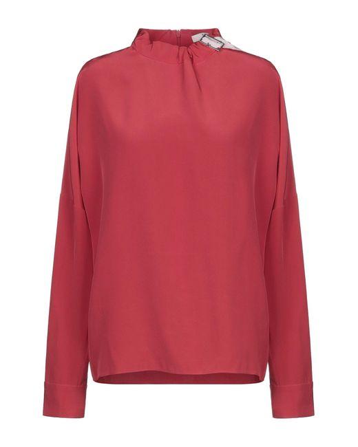 Tibi Blusa de mujer de color rojo QjmTt