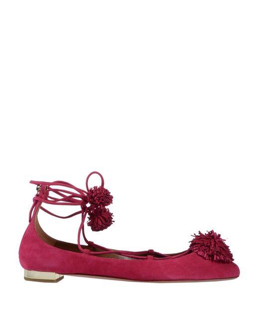 Aquazzura Red Ballet Flats