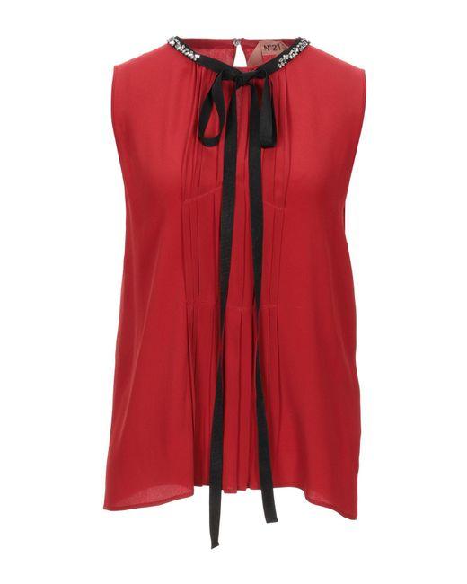 N°21 Top de mujer de color rojo EzRIH