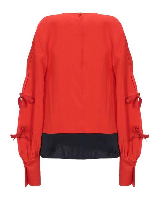 Blusa con nodi laterali di Victoria, Victoria Beckham in Red