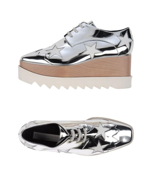 Stella McCartney - Metallic Lace-up Shoe - Lyst