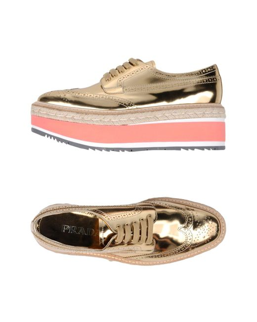 Prada Metallic Lace-up Shoe