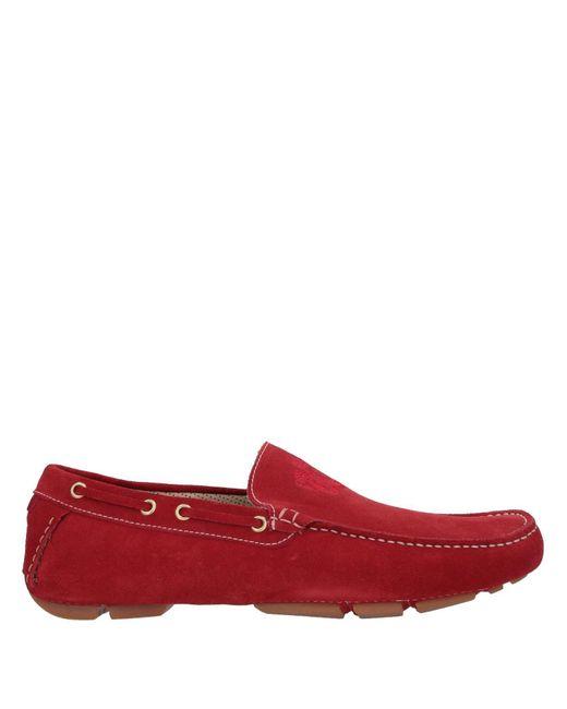 A.Testoni Mocasines de hombre de color rojo