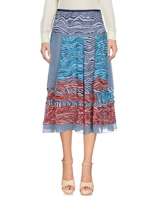 Diane von Furstenberg Blue 3/4 Length Skirt