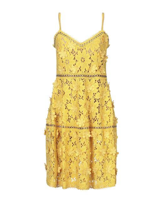 MICHAEL Michael Kors Yellow Floral Appliqué Lace Dress
