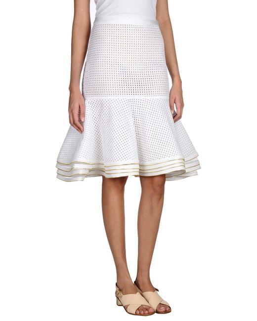 Hervé Léger - White Knee Length Skirt - Lyst