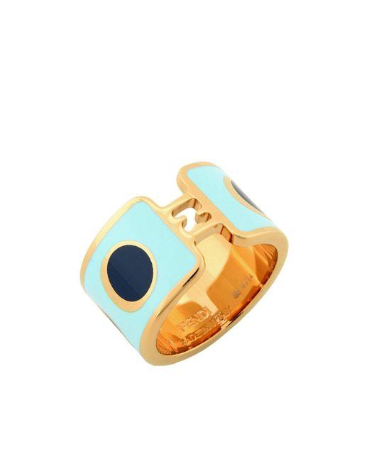 Fendi | Blue Metal Cocktail Ring | Lyst