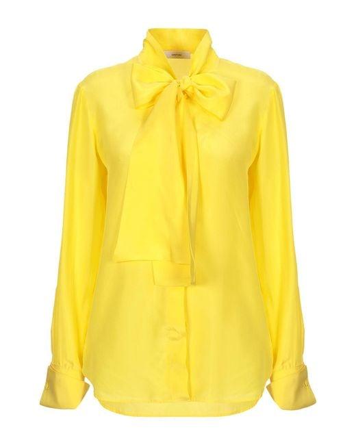 Mauro Grifoni Camisa de mujer de color amarillo qDLcX