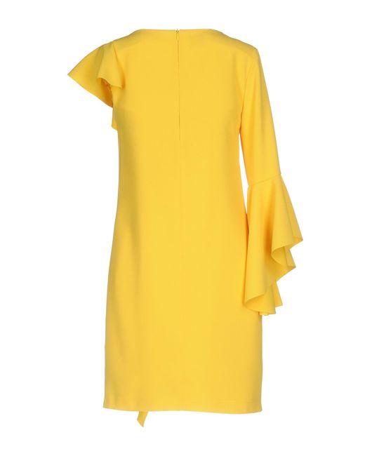 086024c91c7 ... Pinko - Yellow Short Dress - Lyst