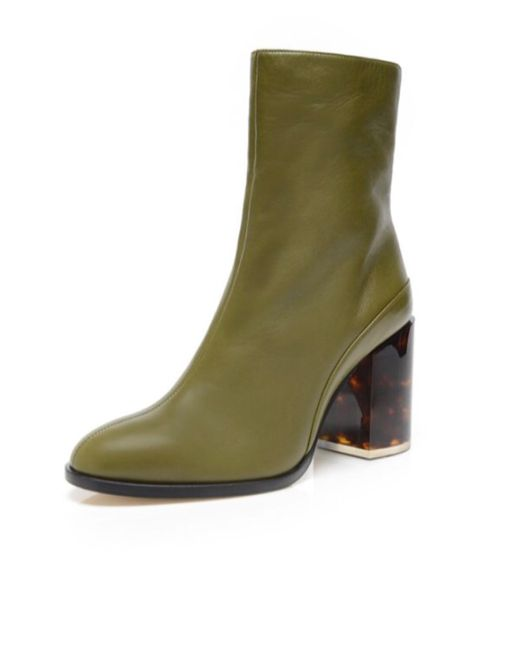 the best attitude a699c d926d Dear Frances Leather Spirit Boot in Olive/Tortoise (Green ...