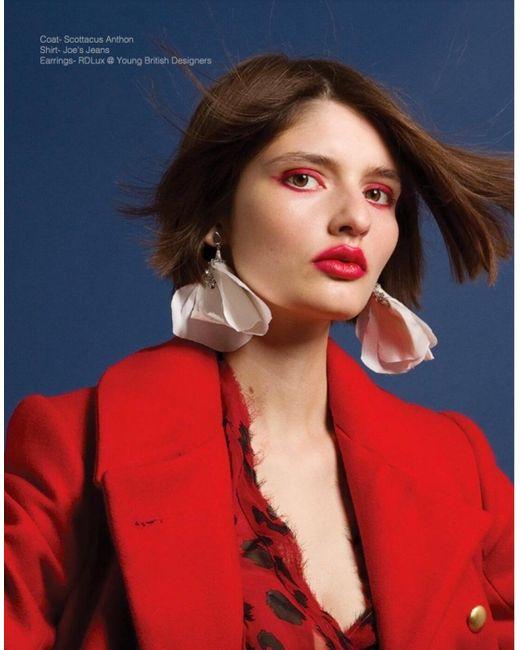 RDLux | Multicolor Magnolia Earrings In Blush Silk | Lyst